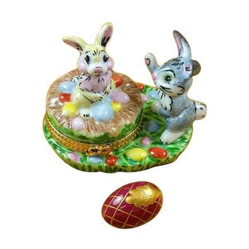 BUNNIES W/ EGGS LIMOGES BOXES