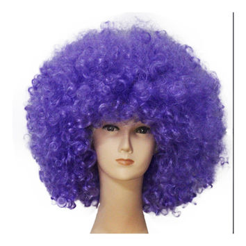 Fashion Afro Cosplay Curly Clown Party 70s Disco Cosplay Wig Cheering Squad Clown   Sapphire