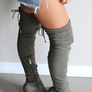Sparks Fly Olive Thigh High Boots