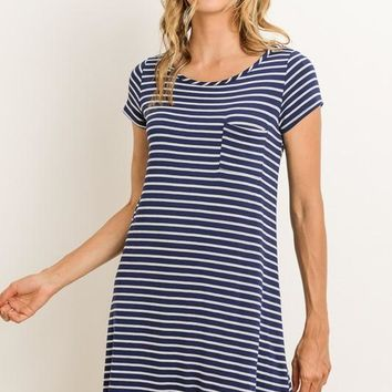 Striped Tunic Dress with Pocket - Navy