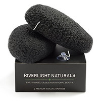 Premium Konjac Sponge By Riverlight Naturals ※ 2 Pack Of Cleansing Facial Sponges Infused w/ Bamboo Charcoal ※ 100% Natural ※ Perfect for Acne, Blackheads, Pore Cleansing, Sensitive, Dry, Oily Skin
