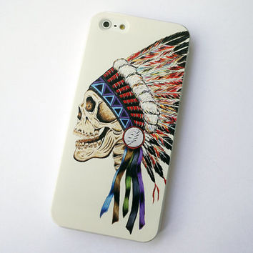 iphone 5 case iphone 5s case iphone 5s cases iphone 5 cases iphone 5 samsung note 3 case colored drawing color Indian skull iphone 5s case