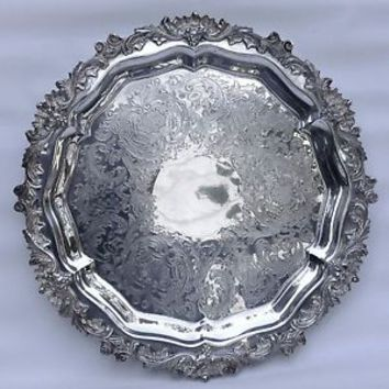 "Antique CSC CROWN SILVER CO. Silver Plate Footed Round 15"" Serving Tray"