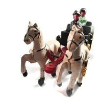 Cast Iron Toy, Two Horse Buggy Carriage With Driver and Passenger