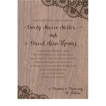 Walnut Wood Veneer with Lace Print Wedding Invitation