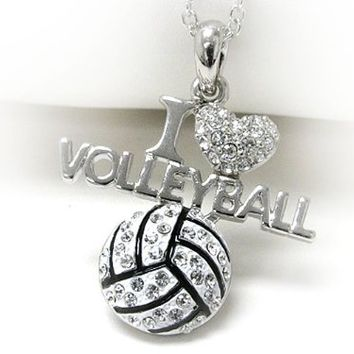 PammyJ Silvertone Crystal I Love Volleyball Pendant Necklace, 18""