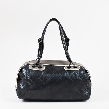 """Chanel Black Quilted Leather """"Country Club Bowler"""" Bag"""