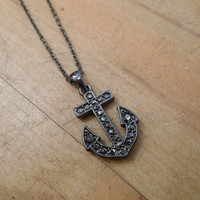 Smoky Rhinestone Anchor Necklace | Candy's Cottage
