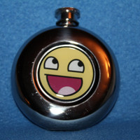 Hip Flask Super Awesome Smiley Meme Rage Face 5 by Valiantstudios