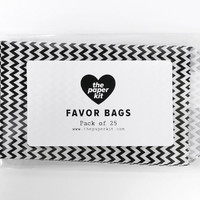 25 - Small Black and White Chevron Glassine Favor Bags - 3 x 5 - Party Treat Wedding Paper Bag - Acid-free Wax Food Safe Packaging Zig Zag