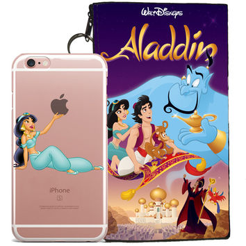Disney's Aladdin Jelly Clear Case For Apple Iphone 7 + Pouch