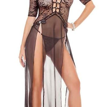Dark Delight Harness Split Lace and Mesh Gown with G-String