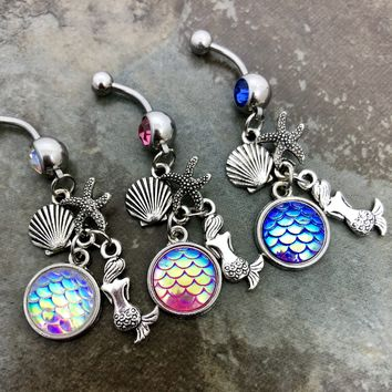 14 gauge stainless steel mermaid belly button navel ring, body jewelry, 14g.....Choose a color