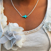 SILVER Olivia Cross Necklace (Turquoise)
