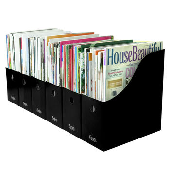 Evelots 6 Magazine/File Holders With Adhesive Labels, Assorted Colors