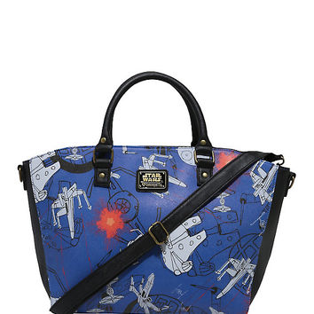 Loungefly Star Wars Space Battle Scribble Art Satchel