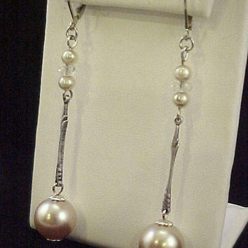 "OOAK Repurposed  Minimalist 2 3/8"" Long Hollow Glass Pearl Pendulums Silver Tone Pearlessence Crystal Bead Pierced Earrings"