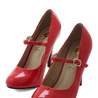 ModCloth 60s Patent Office Heel in Ruby