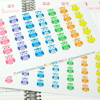 Cute Happy Owls Planner Sticker for Erin Condren Life Planner (ECLP) Sticker