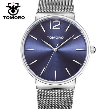 TOMORO Watches Unisex Stylish Quartz-watch Ultra Thin Dial Stainless Steel Mesh strap Man Clock Simple Casual relogio masculino