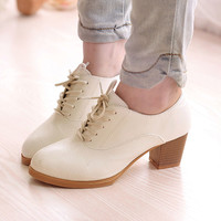 Women pumps square heels fashion lace up