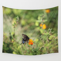 Black Swallowtail In The Garden Wall Tapestry by Theresa Campbell D'August Art