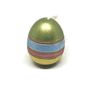 Art Deco Hand Painted Pysanky Style Easter Egg / Vintage Ceramic Egg / Colorful Easter Ornament / Green, Blue, Gold, Yellow and Pink Egg