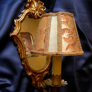 Antique Venetian Gilt Carved Wood Mirror Wall Sconce with Fortuny Fabric Clip On Lamp Shade - Handmade in Italy