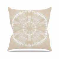 "Jacqueline Milton ""Shibori Circles - Latte"" Beige Pastel Mixed Media Throw Pillow"