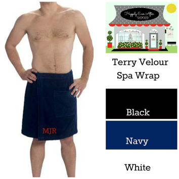 Monogram Spa Wrap For Men Terry Velour Groom Gift