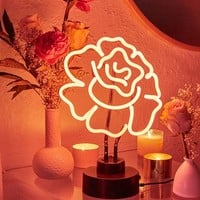 Cabbage Rose Neon Sign Table Lamp | Urban Outfitters