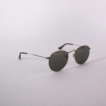 Vintage 90s RAY-BAN SUNGLASSES / 1990s Round Pewter Wire Frame Aviators with Case