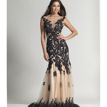 Dave & Johnny 2345 Black Nude Floral Applique Tulle Long Dress 2016 Prom Dresses