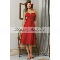 Sweetheart A-line elegant satin bridesmaid dress