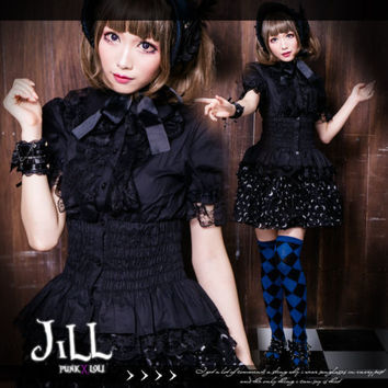 Lolita goth Princess diary shirring waist lace jabot evening shirt HA160 B