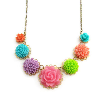 Bright Flower Necklace Pink Rose Necklace Garden Wedding Cottage Chic Statement Necklace Turquoise Flowers Coral Purple - May Day