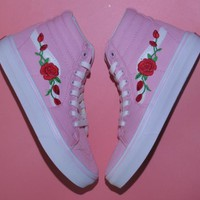 Vans & AMAC Customs Rose Embroidery Fashion casual shoes pink high Gang