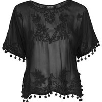 Sheer Pom-Pom Embroidered Top - Black