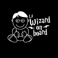 Lil Wizard Harry Potter Baby on Board vinyl car decal from Geekling Designs