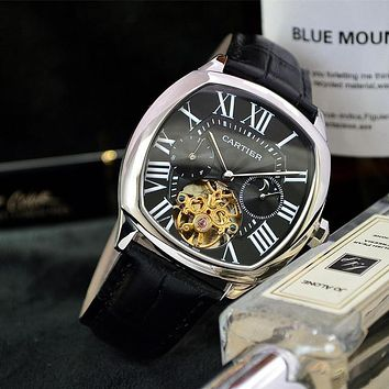 PEAP C019 Cartier Waterproof Automatic Machinery Leather Watchand Watches Black Sliver