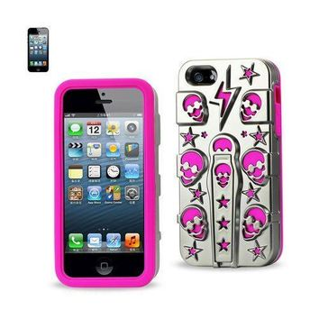 REIKO IPHONE SE/ 5S/ 5 HYBRID SKULLS CASE WITH KICKSTAND IN HOT PINK