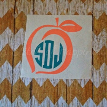 Georgia Peach Monogram Decal - Georgia Peach Decal