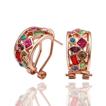 18K Rose Gold Rainbow Crystals 1/2 Hoop Earrings Made with Swarovksi Elements