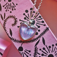 Love - heart glass dome heart necklace for tween or teen girl