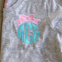 Preppy Bow  Monogrammed VNeck- Adult and Girls Sizes- Sorority-Monogram or Greek Letters-Sorority Big/Little- WEEKLY SPECIAL SALE