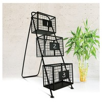 Magazine Rack Storage Organizer with Chalkboards - E2