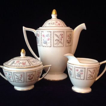 Vintage Minton Tapestry Pattern 3 piece tea set: tea pot, sugar, creamer - Elegant Birthday/Wedding/Engagement/Shower/Housewarming Gift