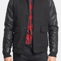 Men's Native Youth Bomber Jacket with Faux Leather Sleeves,