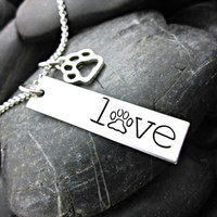 Love Paw Print Necklace - Pet Lover - Dog Lover - Cat Lover - Rescue - Stainless Hand Stamped