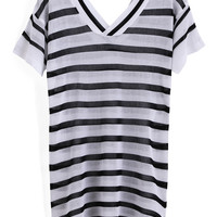 Black White V Neck Striped Loose Knit Sweater -SheIn(Sheinside)